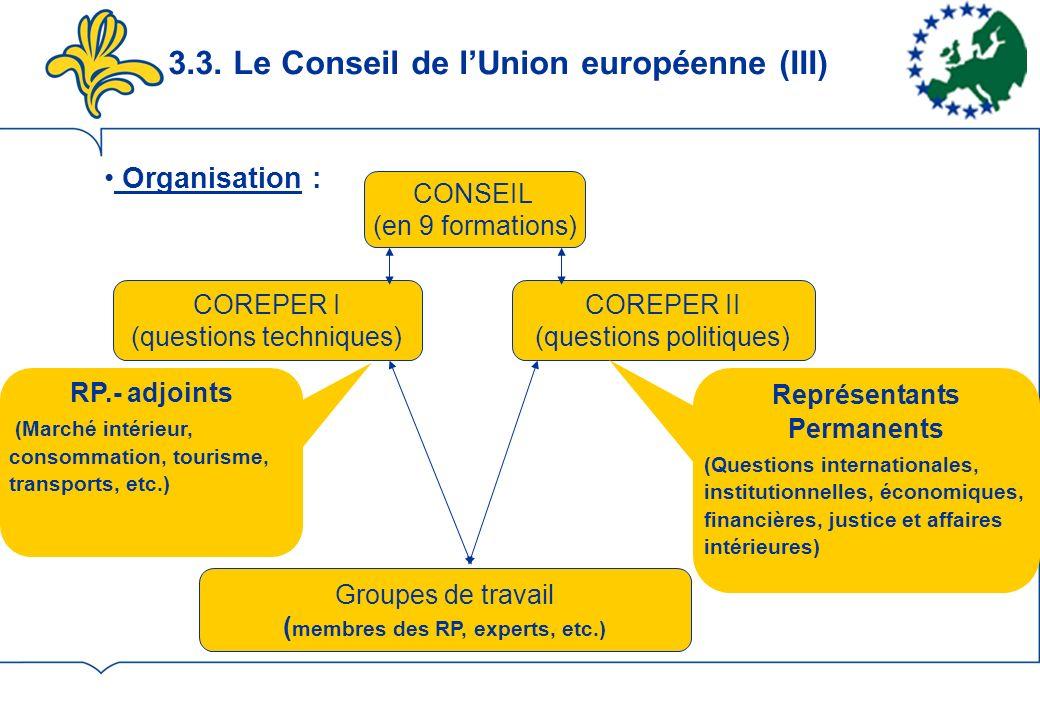 3.3. Le Conseil de l'Union européenne (III)