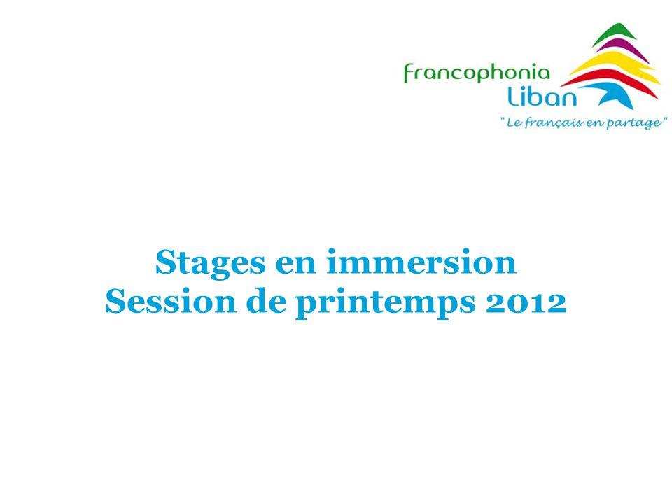 Stages en immersion Session de printemps 2012