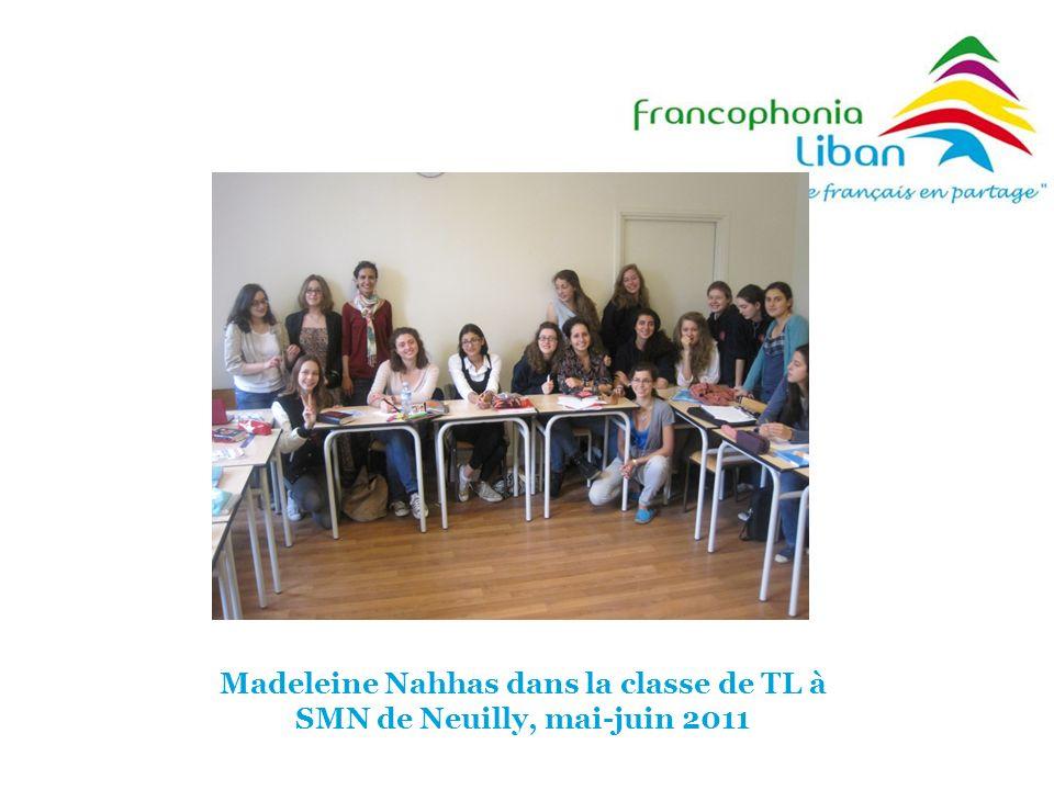 Madeleine Nahhas dans la classe de TL à SMN de Neuilly, mai-juin 2011