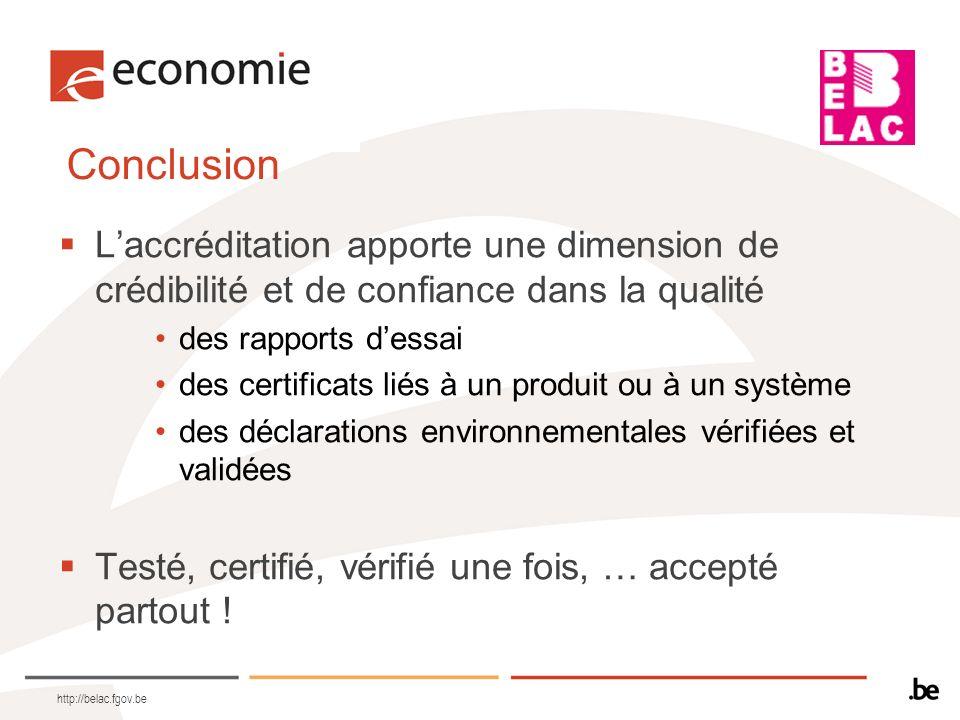 Conclusion L'accréditation apporte une dimension de crédibilité et de confiance dans la qualité. des rapports d'essai.