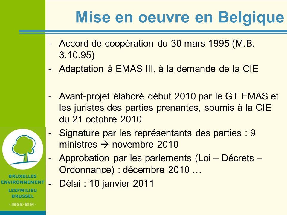 Mise en oeuvre en Belgique