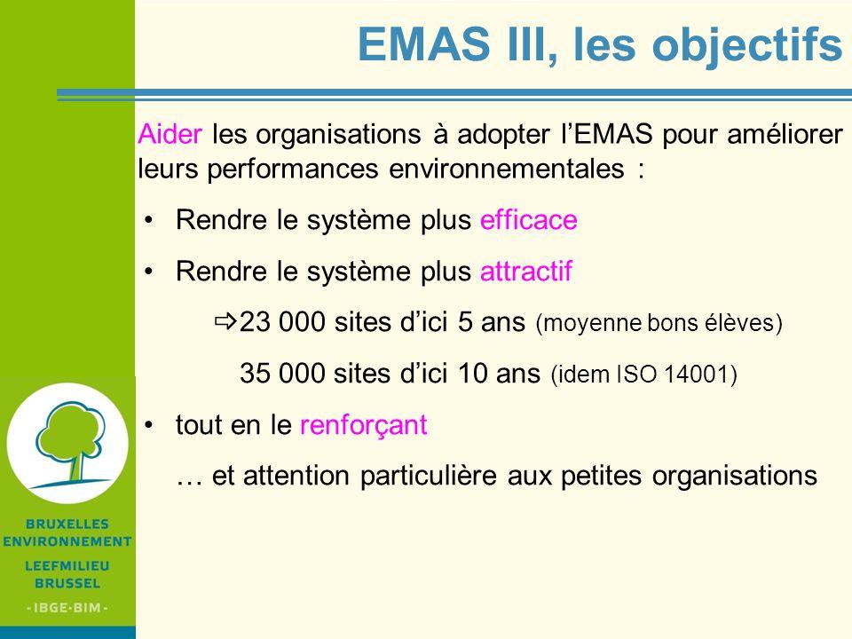 EMAS III, les objectifs Aider les organisations à adopter l'EMAS pour améliorer leurs performances environnementales :