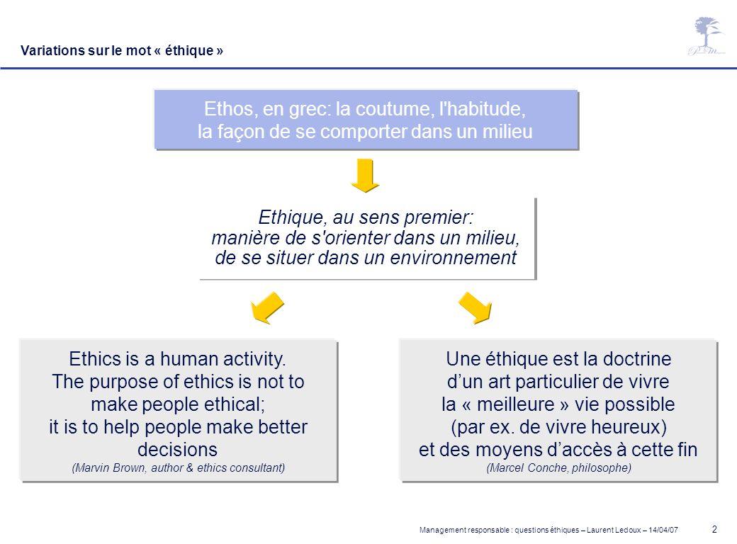 Ethos, en grec: la coutume, l habitude,