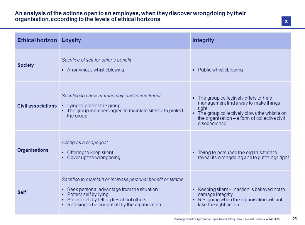 An analysis of the actions open to an employee, when they discover wrongdoing by their organisation, according to the levels of ethical horizons