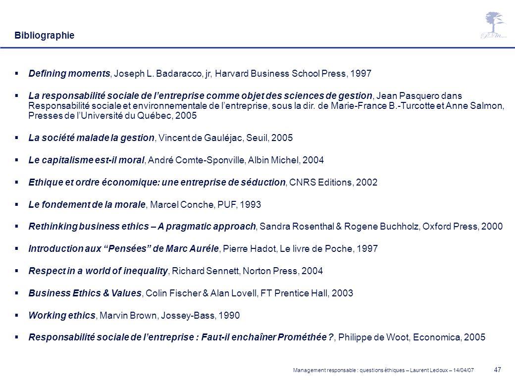 BibliographieDefining moments, Joseph L. Badaracco, jr, Harvard Business School Press, 1997.