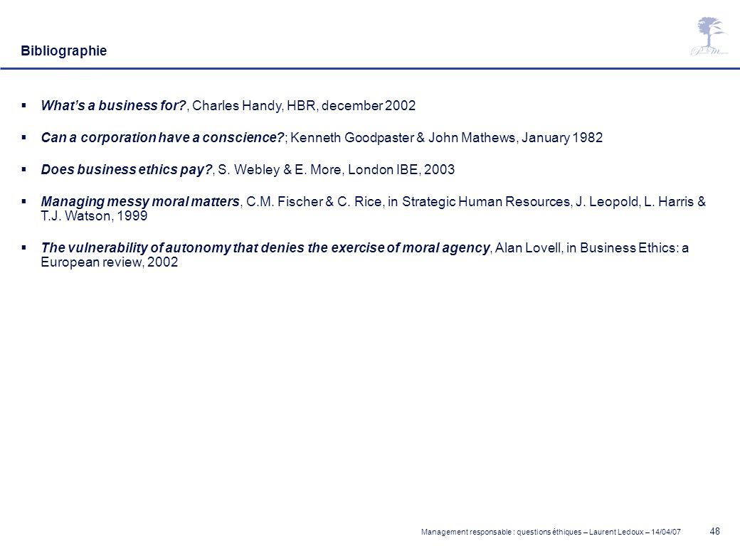 Bibliographie What's a business for , Charles Handy, HBR, december