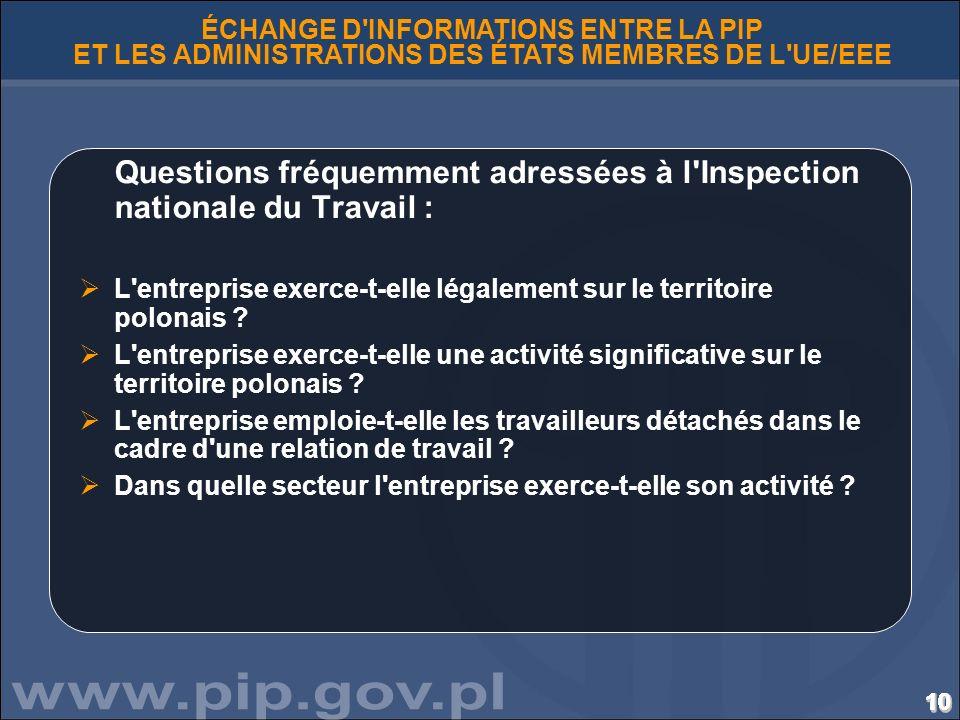 Questions fréquemment adressées à l Inspection nationale du Travail :