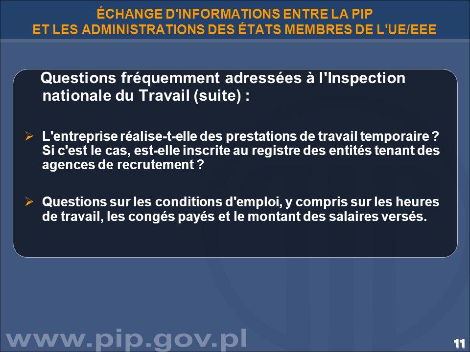 ÉCHANGE D INFORMATIONS ENTRE LA PIP ET LES ADMINISTRATIONS DES ÉTATS MEMBRES DE L UE/EEE
