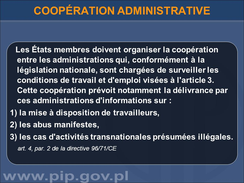COOPÉRATION ADMINISTRATIVE