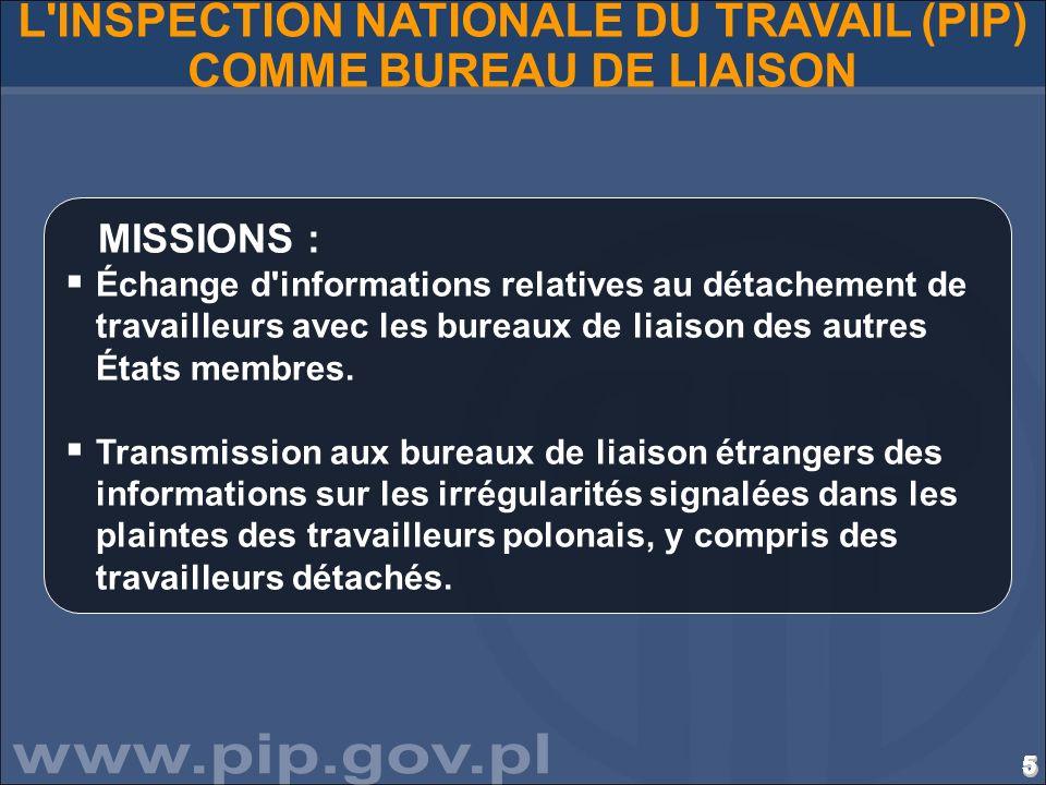 L INSPECTION NATIONALE DU TRAVAIL (PIP) COMME BUREAU DE LIAISON