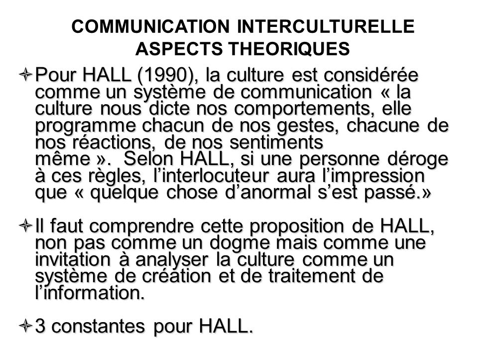 COMMUNICATION INTERCULTURELLE ASPECTS THEORIQUES