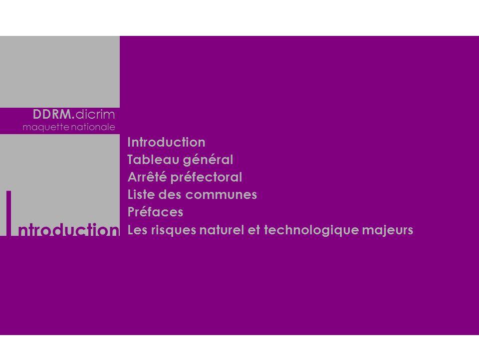Introduction DDRM.dicrim Introduction Tableau général