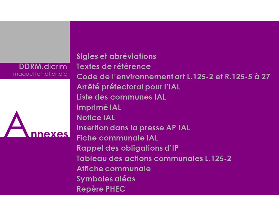 Annexes Sigles et abréviations Textes de référence