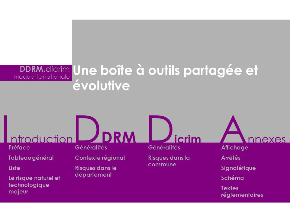 Introduction DDRM Dicrim Annexes