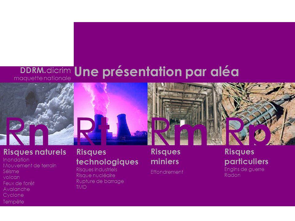 Rn Rt Rm Rp Une présentation par aléa DDRM.dicrim Risques naturels