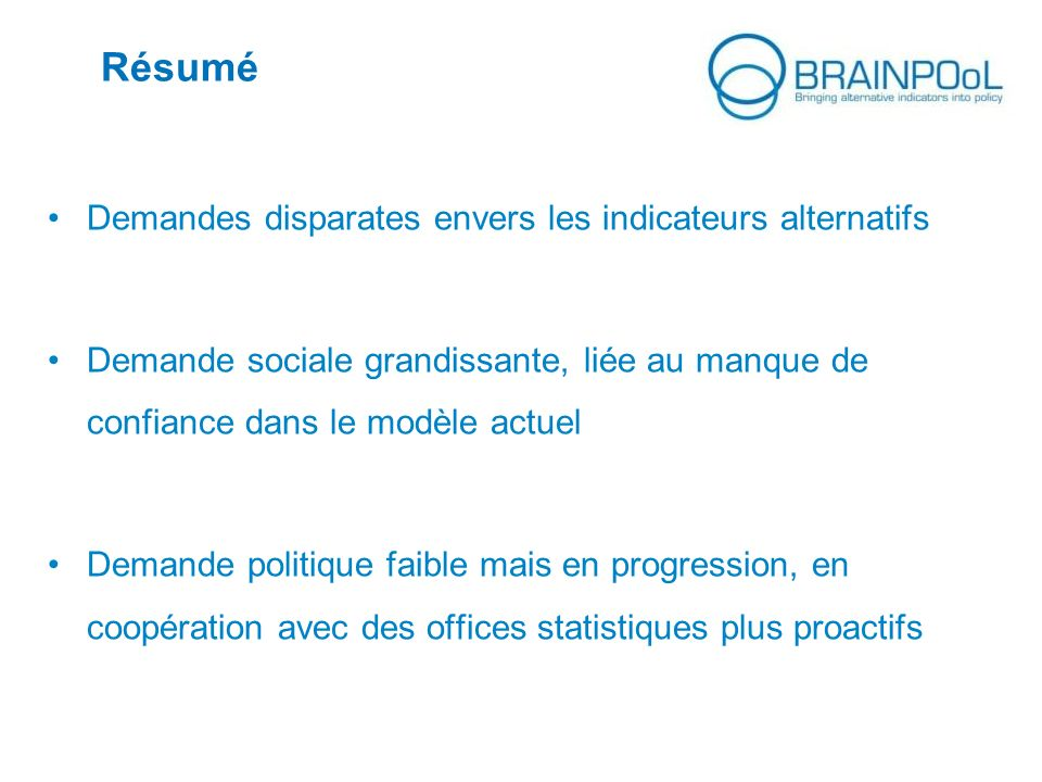 Résumé Demandes disparates envers les indicateurs alternatifs
