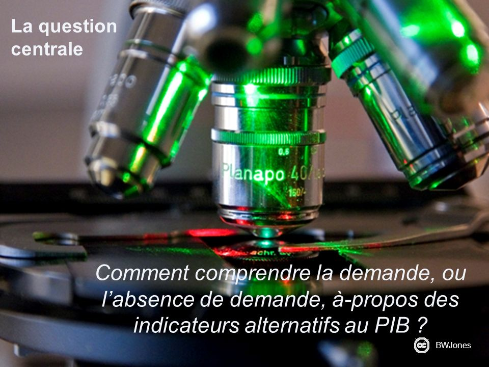 La question centrale Comment comprendre la demande, ou l'absence de demande, à-propos des indicateurs alternatifs au PIB