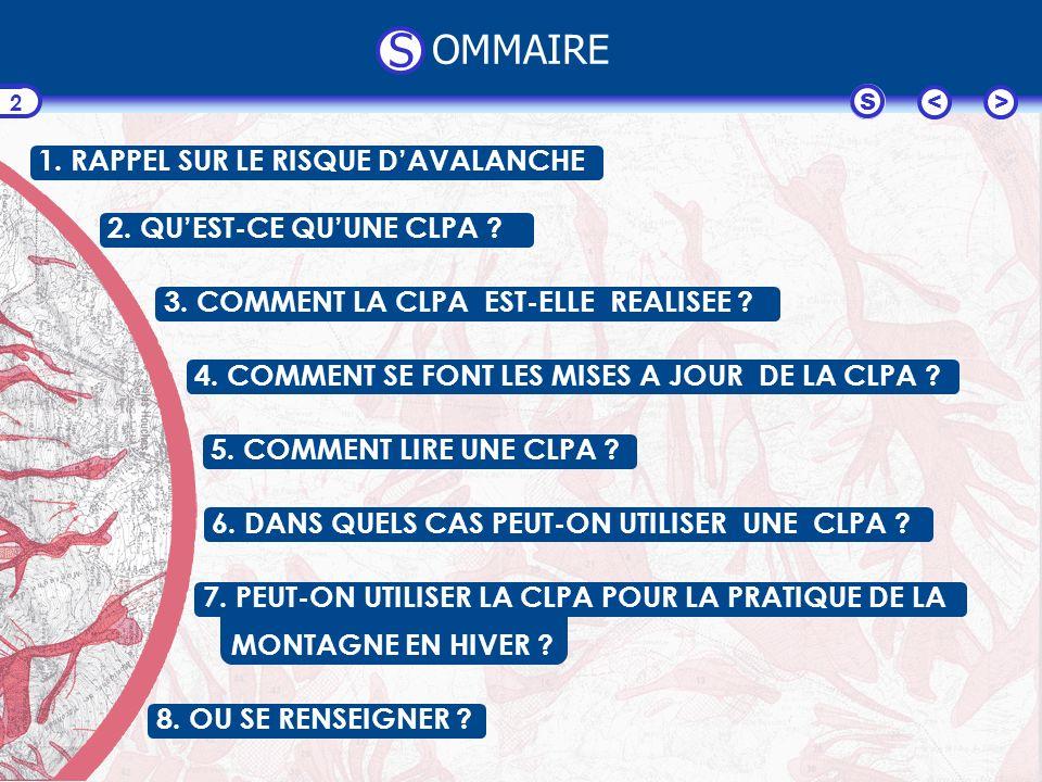 S OMMAIRE 1. RAPPEL SUR LE RISQUE D'AVALANCHE