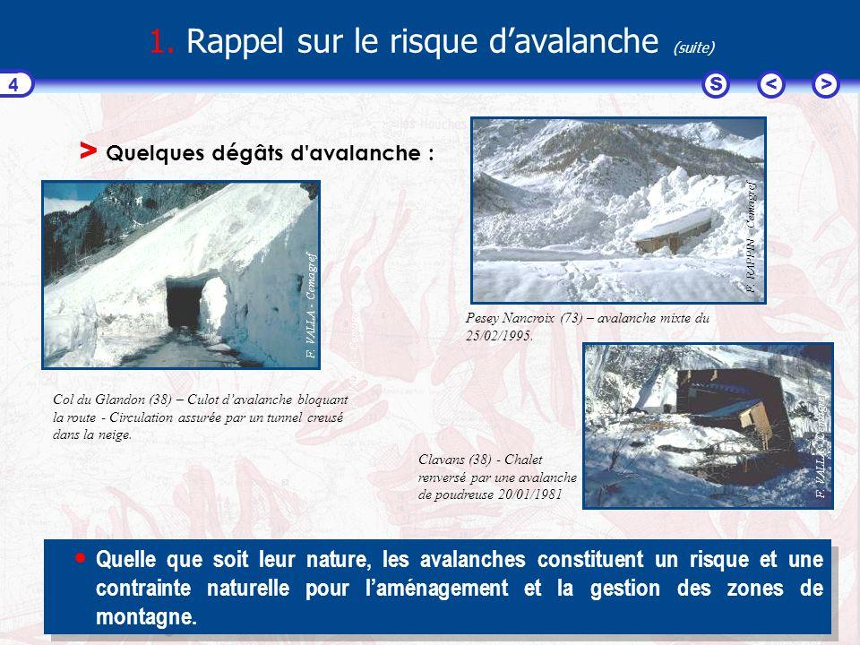 1. Rappel sur le risque d'avalanche (suite)
