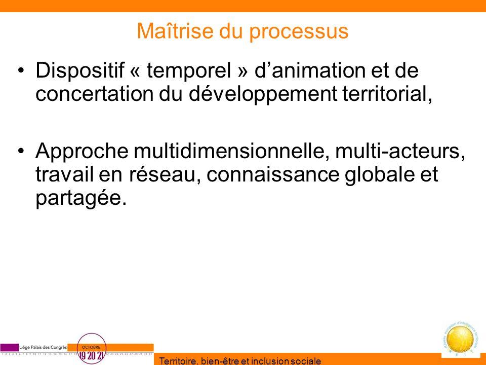 Maîtrise du processus Dispositif « temporel » d'animation et de concertation du développement territorial,