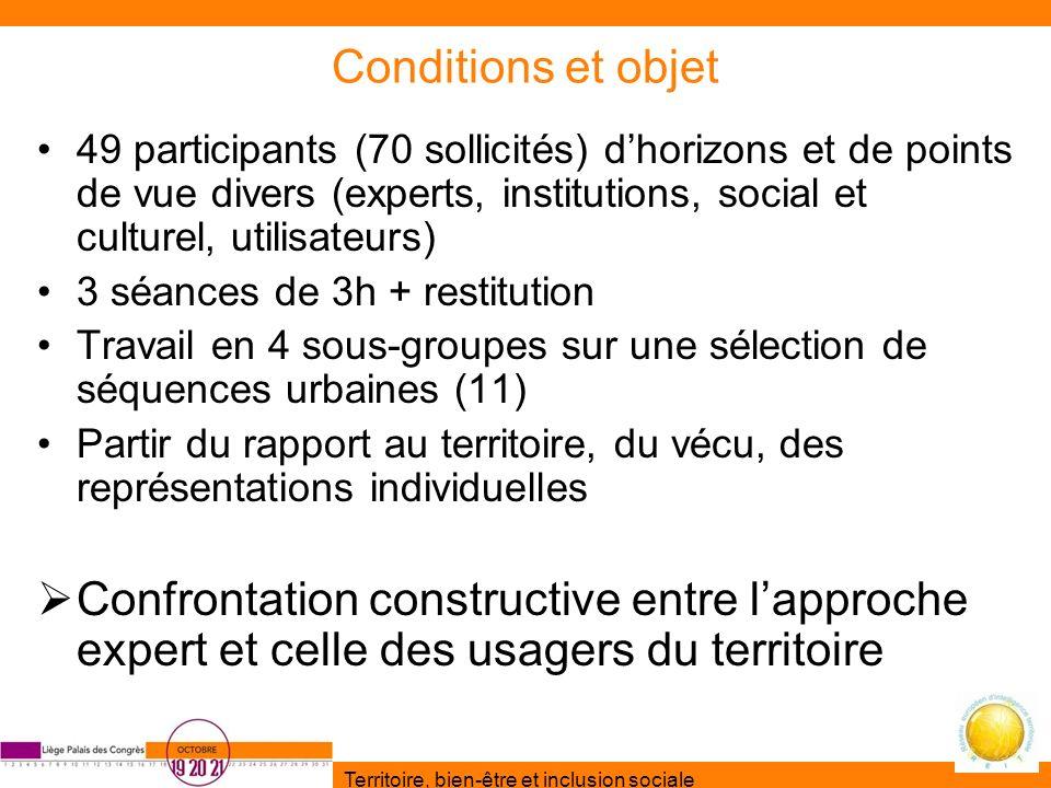 Conditions et objet 49 participants (70 sollicités) d'horizons et de points de vue divers (experts, institutions, social et culturel, utilisateurs)