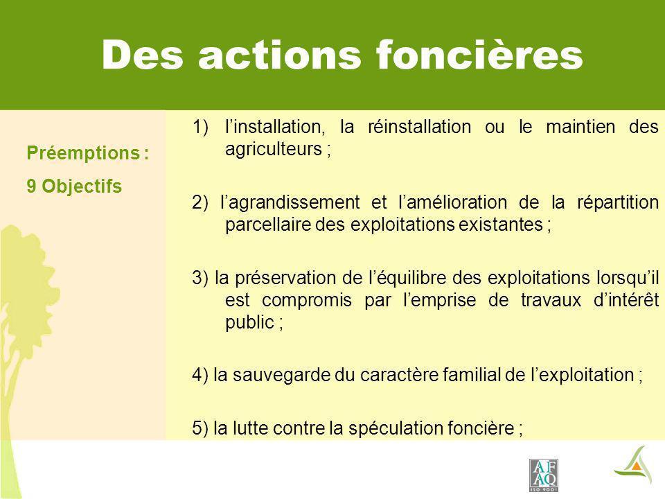 Des actions foncières Préemptions : 9 Objectifs. l'installation, la réinstallation ou le maintien des agriculteurs ;