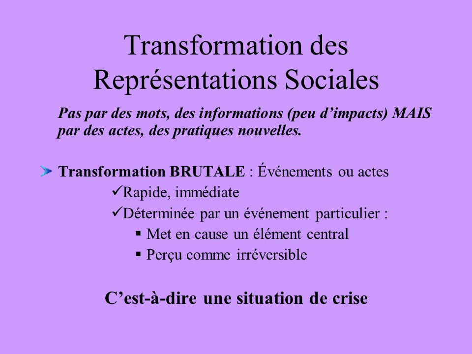 Transformation des Représentations Sociales