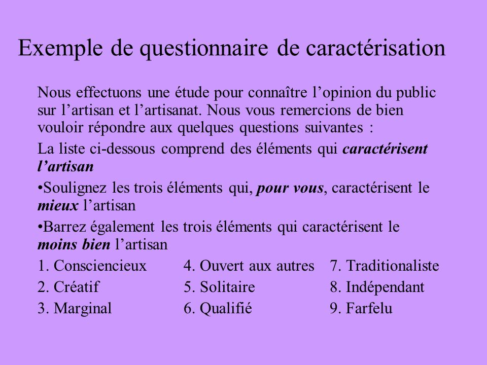 Exemple de questionnaire de caractérisation