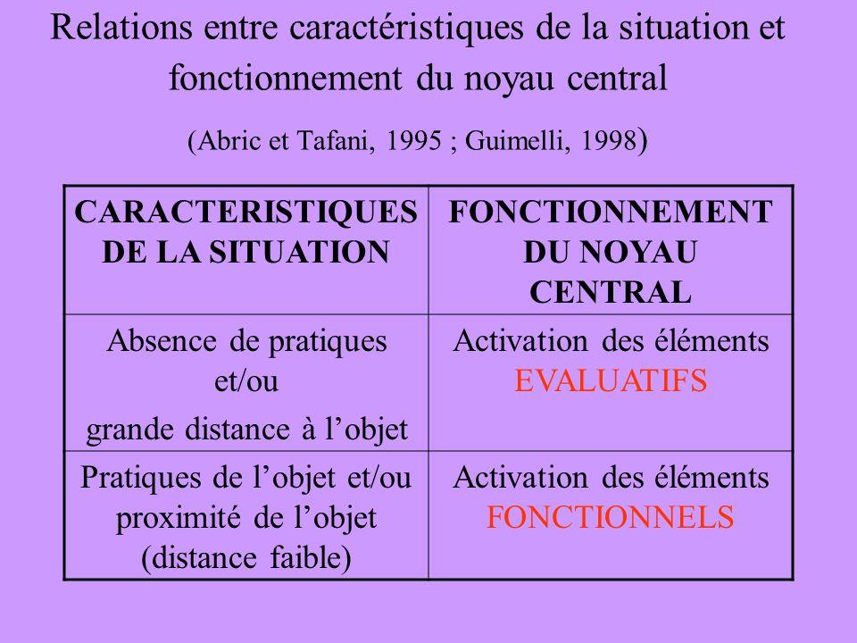 CARACTERISTIQUES DE LA SITUATION FONCTIONNEMENT DU NOYAU CENTRAL