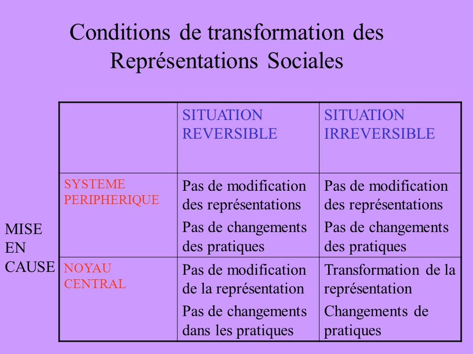 Conditions de transformation des Représentations Sociales