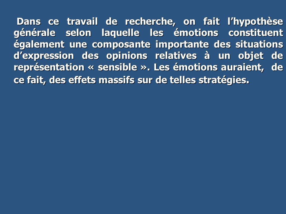 Dans ce travail de recherche, on fait l'hypothèse générale selon laquelle les émotions constituent également une composante importante des situations d'expression des opinions relatives à un objet de représentation « sensible ».