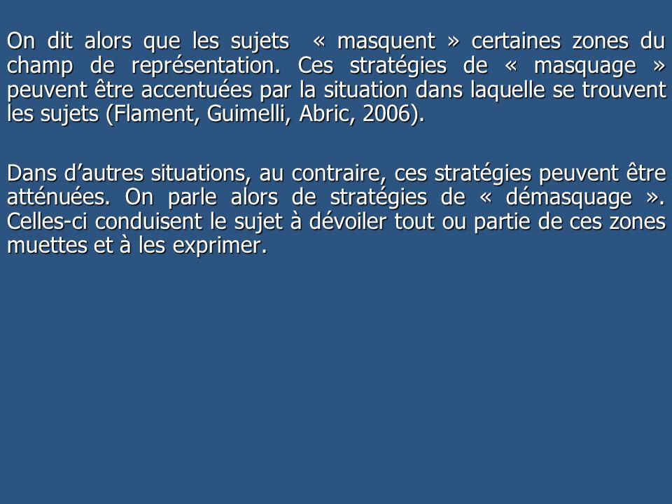 On dit alors que les sujets « masquent » certaines zones du champ de représentation. Ces stratégies de « masquage » peuvent être accentuées par la situation dans laquelle se trouvent les sujets (Flament, Guimelli, Abric, 2006).