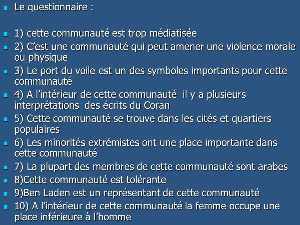 Le questionnaire : 1) cette communauté est trop médiatisée. 2) C'est une communauté qui peut amener une violence morale ou physique.