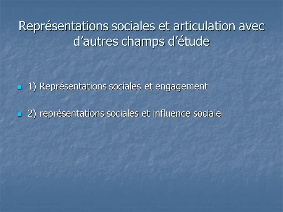 Représentations sociales et articulation avec d'autres champs d'étude
