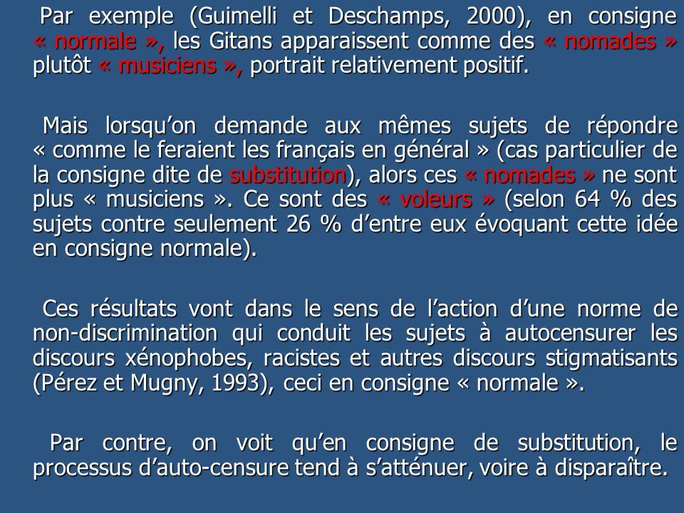Par exemple (Guimelli et Deschamps, 2000), en consigne « normale », les Gitans apparaissent comme des « nomades » plutôt « musiciens », portrait relativement positif.