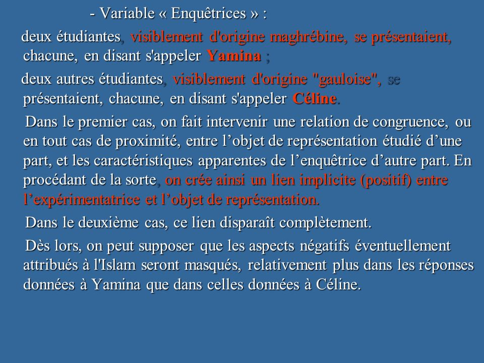 - Variable « Enquêtrices » :