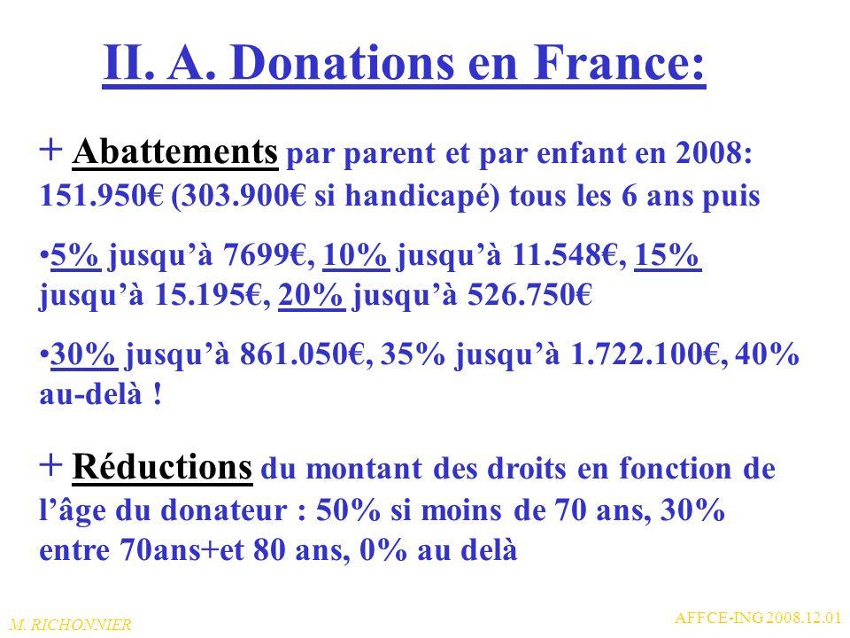 II. A. Donations en France: