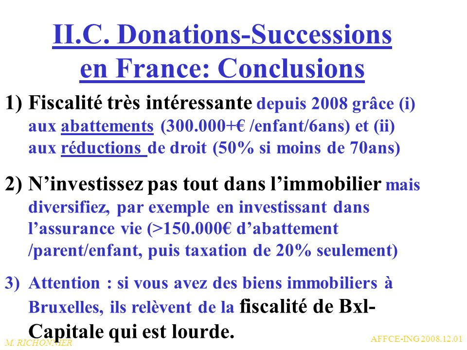 II.C. Donations-Successions en France: Conclusions