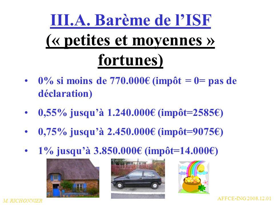 III.A. Barème de l'ISF (« petites et moyennes » fortunes)