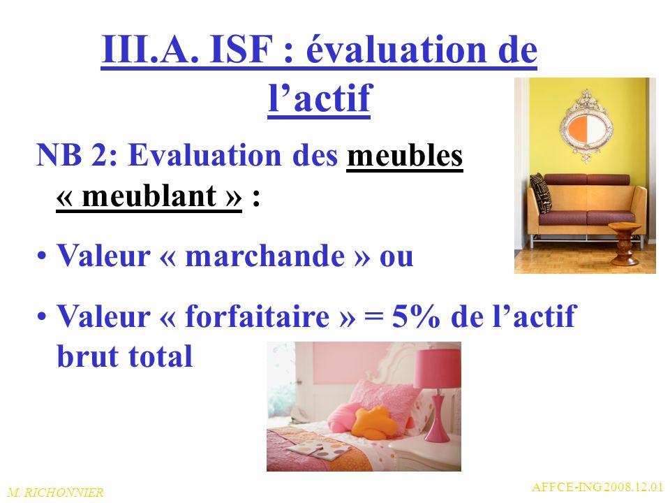 III.A. ISF : évaluation de l'actif