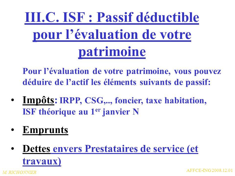 III.C. ISF : Passif déductible pour l'évaluation de votre patrimoine