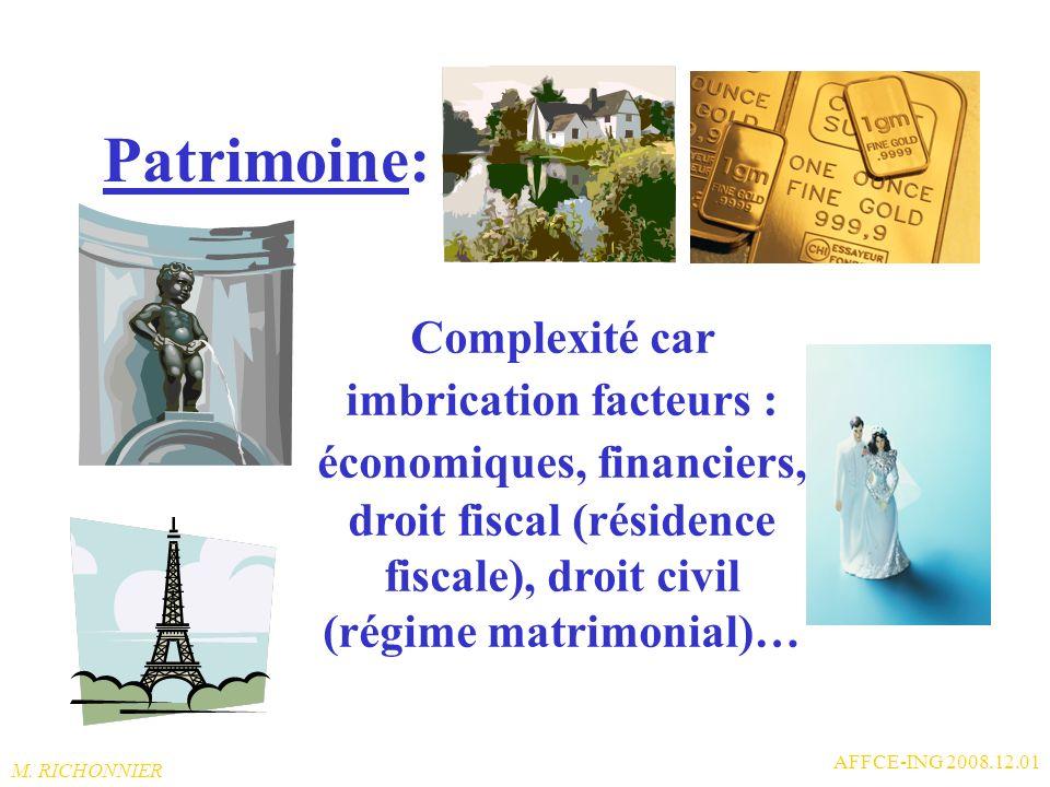 Patrimoine: Complexité car imbrication facteurs : économiques, financiers, droit fiscal (résidence fiscale), droit civil (régime matrimonial)…