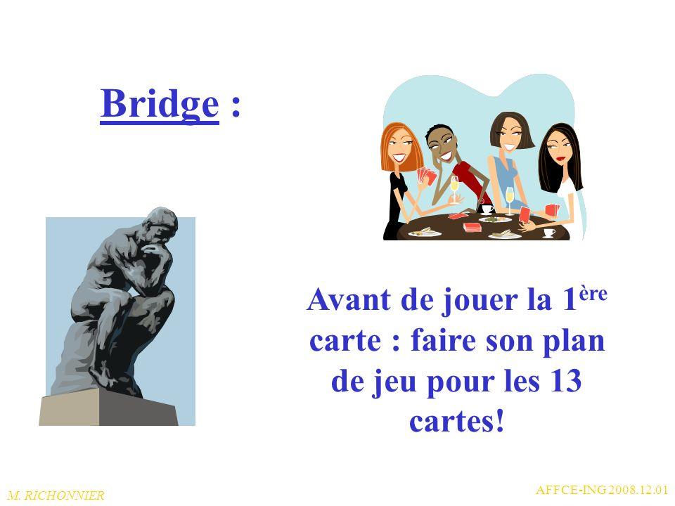 Bridge : Avant de jouer la 1ère carte : faire son plan de jeu pour les 13 cartes! AFFCE-ING 2008.12.01.