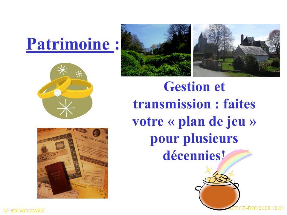Patrimoine : Gestion et transmission : faites votre « plan de jeu » pour plusieurs décennies! AFFCE-ING 2008.12.01.