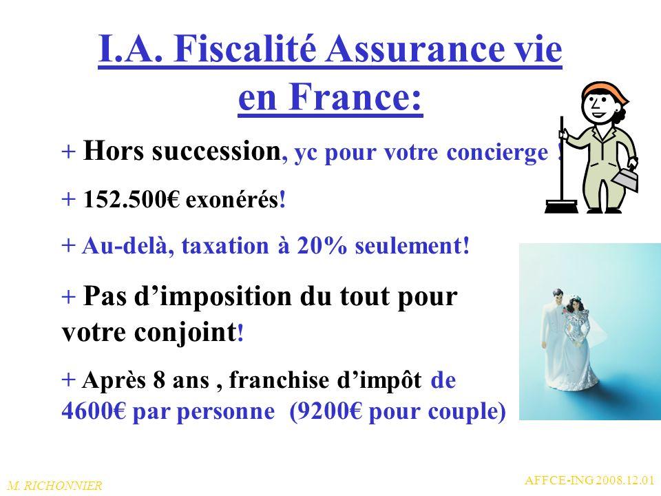 I.A. Fiscalité Assurance vie en France:
