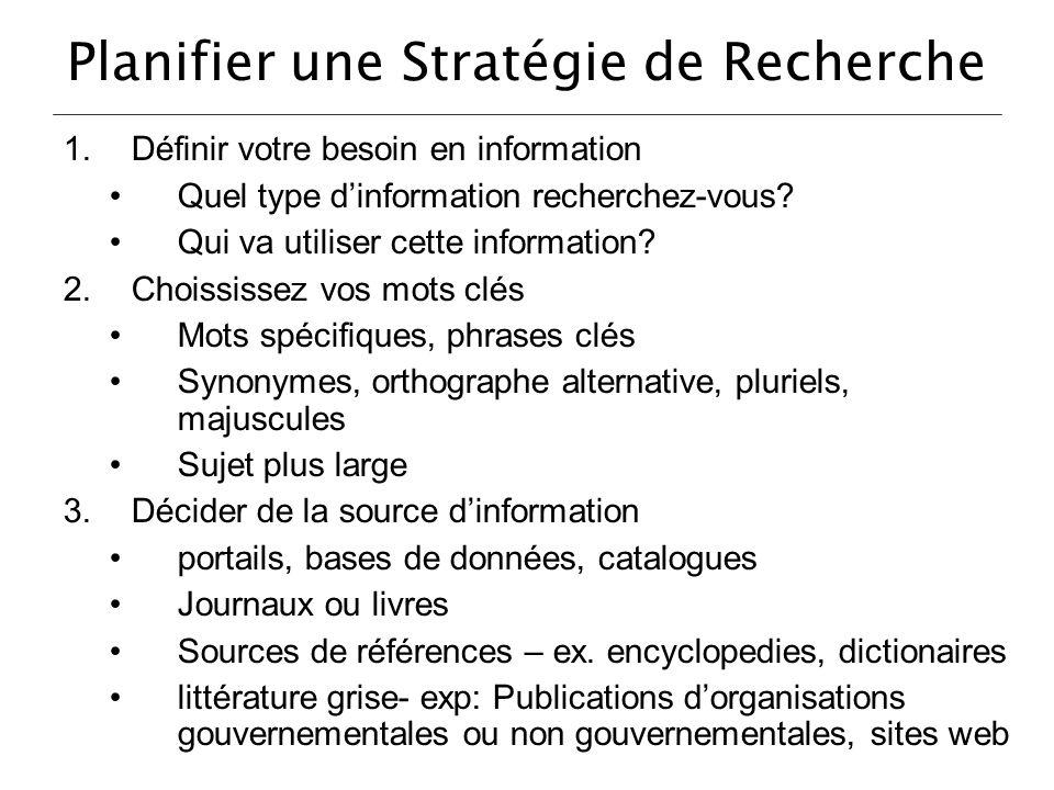 Planifier une Stratégie de Recherche