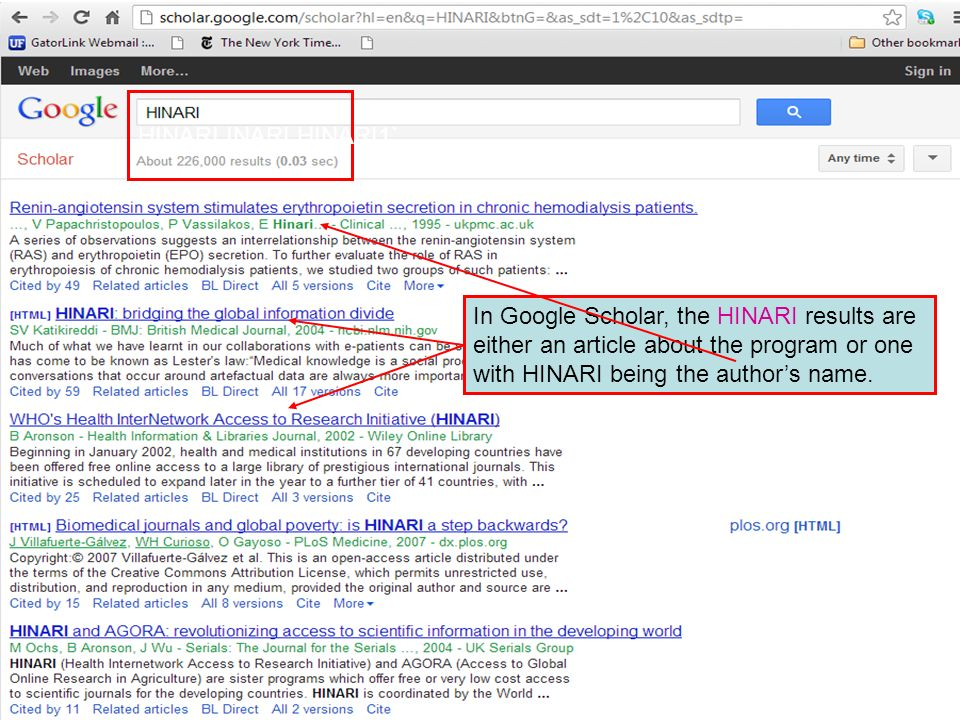 HINARI INARI HINARI1`In Google Scholar, the HINARI results are either an article about the program or one with HINARI being the author's name.