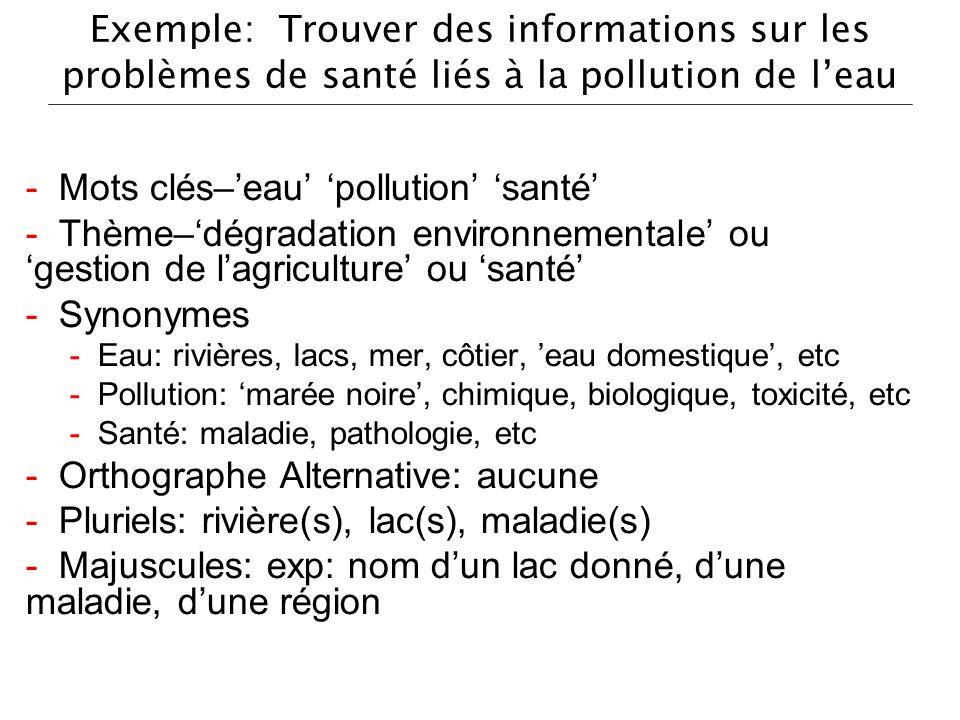- Mots clés–'eau' 'pollution' 'santé'