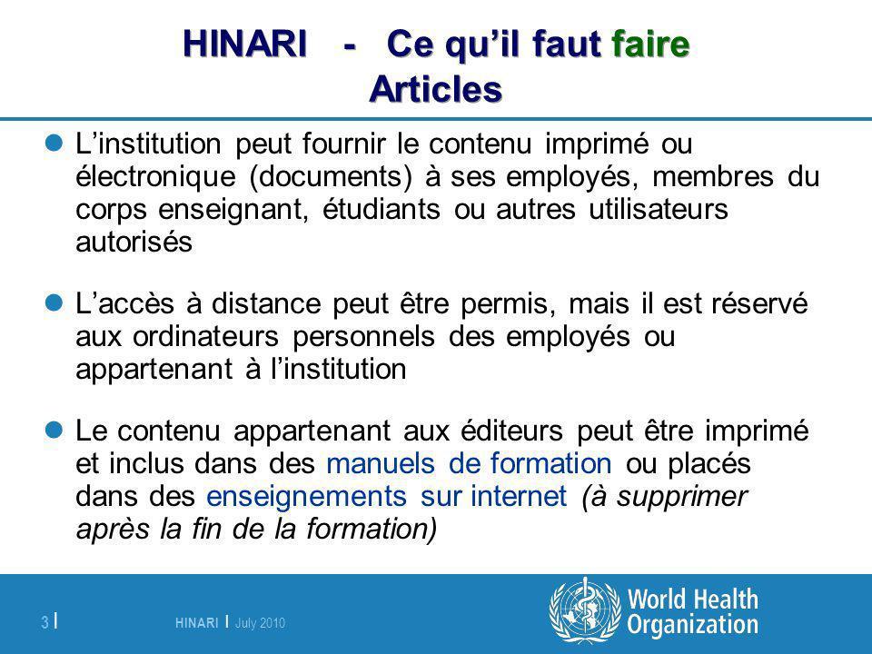 HINARI - Ce qu'il faut faire Articles