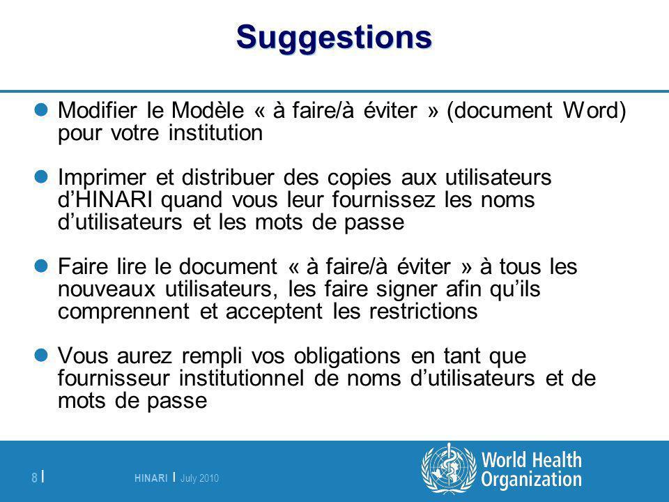 Suggestions Modifier le Modèle « à faire/à éviter » (document Word) pour votre institution.